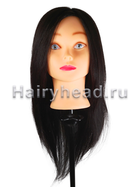 """Голова для парикмахеров """"Алина"""" 100% натуральная 55см черный"""