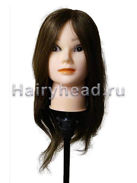 """Голова-манекен """"Карина"""" 100% натуральный коричневый 45-50см"""