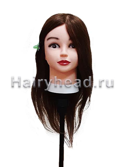 Манекен для парикмахеров «Юлия» 40 45 50 СМ 100% натуральный коричневый