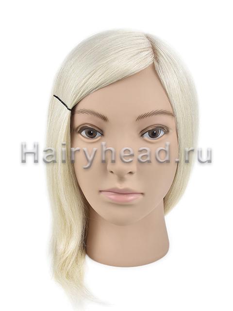 Учебная голова «Николь» 40см 100% натуральный блонд